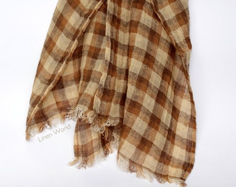 Men's 100% Linen Scarf Brown Plaid Unisex Scarves Shawls, Lightweight Natural Flax Checkered Summer Scarf with Fringes, Gifts for Her / Him