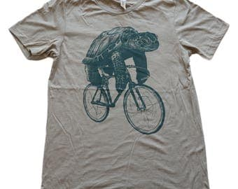 Sea Turtle on a Fixed Gear- Mens T Shirt, Unisex Tee, Blended Tee, Handmade graphic tee, Bicycle shirt, Bike Tee, sizes xs-xxl