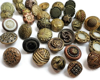 42 Antique Metal Buttons - Vintage 1800s to Early 1900s Victorian Edwardian for Jewelry Beads Sewing Knitting Steampunk Costume Cosplay