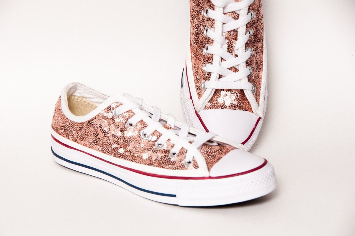 sequin rose gold canvas custom converse canvas by princesspumps. Black Bedroom Furniture Sets. Home Design Ideas