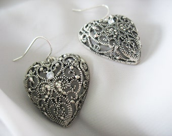 Filigree Heart Earrings, Dangle, Center Rhinestone, Silvertone, Large Hearts, Pierced 1980s