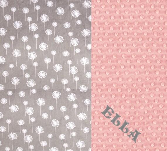 42 x 55 Minky Blanket Girl, Dandelion Flower Personalized Baby Blanket Crib size Girl // Pink Gray Baby Blanket
