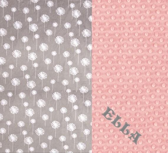 Minky Adult Blanket, Personalized Blanket - Pink Gray Flowers Blanket Throw // Gray Minky Throw Blanket // Twin Blanket // Dandelion Blanket