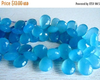 SALE Chalcedony faceted pear briolette