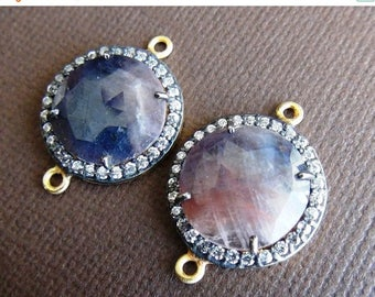 SALE Natural Multi Sapphire with zircon connector pair