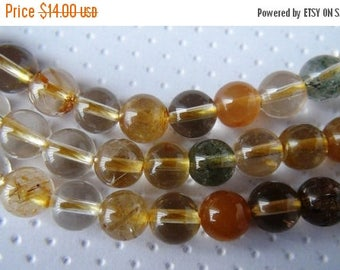 SALE Multi Rutilated Quartz Smooth Round Beads Rondelles Rondels