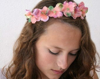 Peach and Pink Floral Headband