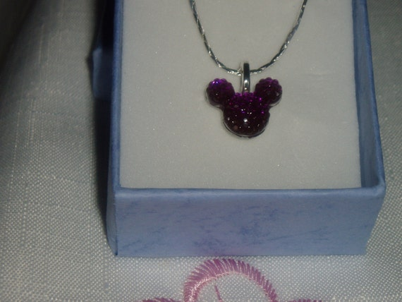 Mouse Ears Necklace Disney Inspired Wedding Party in Dazzling Purple Acrylic