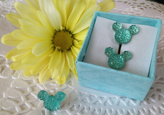 Hidden MOUSE EARS Cuff Links & Tie Tack for Wedding Party Aqua Acrylic Gift Box Included FREE