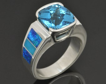 Lab Created Opal Ring with Turquoise and Topaz in Sterling Silver - Topaz Ring - Lab Opal Ring - Turquoise Ring