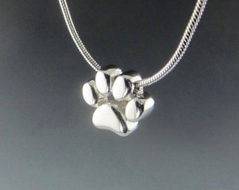 Silver Paw Print Slide Pendant on Snake Chain