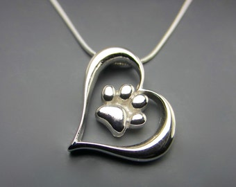 Leaning Heart With A Paw Print Necklace
