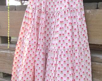 Pink Skirt, Three-tiered Skirt, Twirly Skirt, Pink Tulip Skirt, Girls' Size 5 - 10
