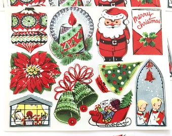 Vintage CHRISTMAS Gift Tags Seals Stickers Kaycrest NOS New Old Stock