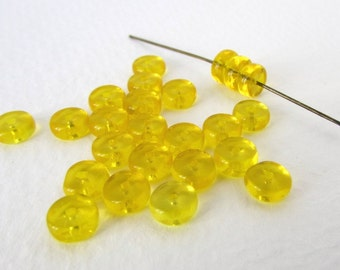 Vintage Glass Beads Yellow Glass  Rondelle Spacer Beads Transparent 6mm vgb1076 (24)
