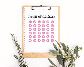 36 Social Media Icons in Metallic Light Pink Glitter- High Resolution Large Images - Web and Print - Instant Download