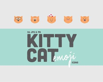 36 Kitty Cat Emoji Icons (PNG & JPG) - Orange Tabby Cat - Clipart - High Resolution - Large Images - Print and Web - Creative Craft Projects