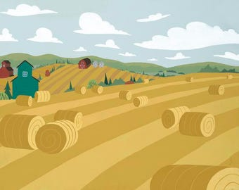 Golden Prairie | A scenic landscape of a hay fields after harvest