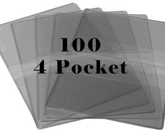100 Clear Vinyl Debit Card HOLDERS Business Wallet Credit Grocery Card Holder-4 Pockets