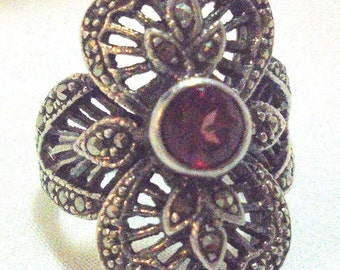 Sterling Silver Marcasite Garnet Ring Marked CP 925