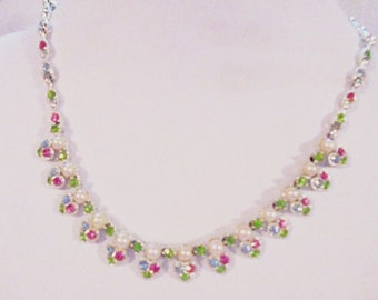 Vintage Rhodium Heart Necklace with Pastel Rhinestones and Faux Pearls