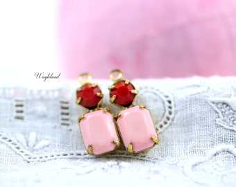 Light Pink & Cherry Red 16x6mm Vintage Glass Drops Octagon Bangle Connector Set Stones Brass Prong Settings - 2