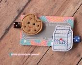 Girls Hair Clip--Milk and Cookies Felties