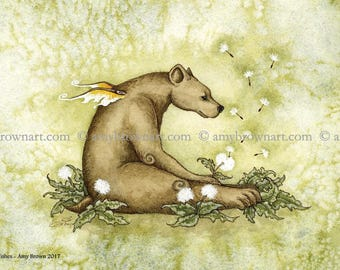 5x7 Wishes bear fairy dandelion PRINT by Amy Brown