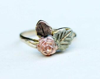 Gold Rose Ring, Black Hills Ring, Rose Ring, Flower Ring, 10K Gold Ring, 10K Gold, Leaf Ring, Gold Leaf Ring, Size 7.25