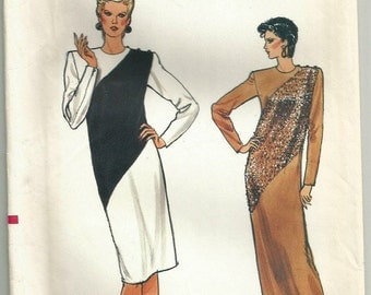 Vintage 80s Vogue 8800 UNCUT Misses Colorblocking Evening Dress Sewing Pattern Size 12 Bust 34