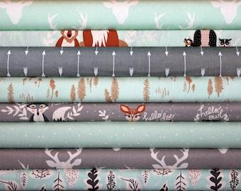 Hello Bear, Custom, Woodland, Bundle,Mint,Gray, Grey, Soft, Blue, Art Gallery Fabrics, Modern, Rustic,In Custom Cuts, Fat Quarters