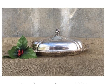 Butter Dish - Covered Butter Dish - Silver Butter Dish  - Vintage Butter Dish - Glass Butter Dish - Serving Dish - Shabby Chic Decor -