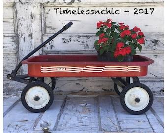 Vintage Pull Wagon - Vintage Red Wagon - Metal Wagon - Vintage Metal Wagon - Red Wagon - Pull Wagon - Succulent Planter - Vintage Pull Wagon