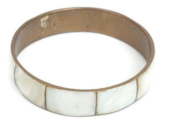 MOP Shell Brass Bangle Bracelet Boho Vintage