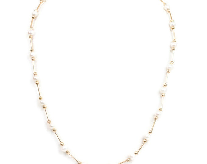 14K Gold Cultured Pearl Station Necklace Bridal Gift Vintage