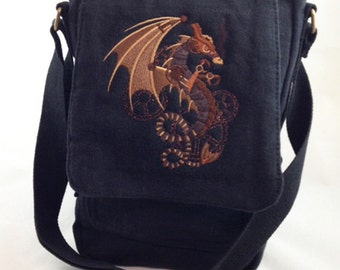 Stunning steampunk wyvern on canvas tech bag