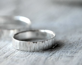 Textured Silver Wedding Bands, Custom Stamping on the inside
