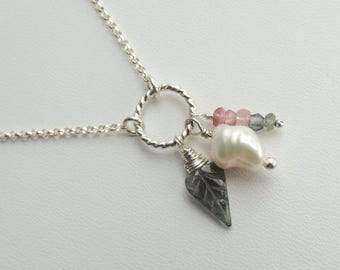 White Keshi Freshwater Pearl and Tourmaline Charm Necklace Sterling Silver Carved Leaf Gemstone Pendant