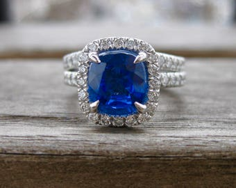 Blue Ceylon Sapphire Engagement Ring and Matching Wedding Band with Micro Pave Set Diamonds in Size 4