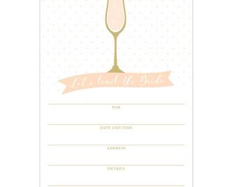 Champagne Bridal Shower Fill In Invitations
