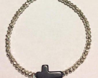 small silver beaded bracelet - silver pyrite beads with black onyx sideways cross