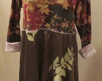 Upcycled brown floral tunic dress refashion sz M double layer bottom applique flowers