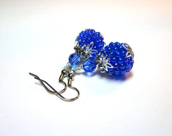 Cobalt Blue Earrings, Iridescent Berry Earrings, Spring Berries, Swarovski Austrian Crystals, Silver, Spiritcatdesigns