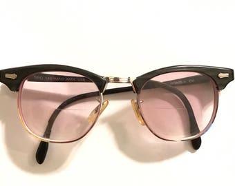 Vintage Clubmaster Ray Ban-Style Eyeglasses Ebony Grey Blackwood with Stress at the Screw Insert Area