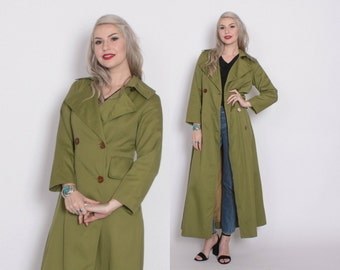 Vintage 70s TRENCH Coat / 1970s Olive Green Princess Cut Maxi Jacket S
