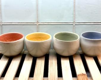 Japanese Teacups - set of four teacups / porcelain teacups / tiny tea cups / colorful teacups /