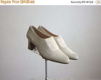 25% SALE suede & lace heels size 7 1/2