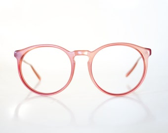 Round P3 Eyeglasses Metallic Pink Mauve Dusty Rose 1980s 80s Preppy Glasses Women Ladies Geek Chic Nerdy Deadstock NOS Brand New