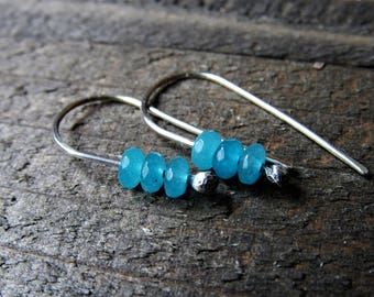 Tiny Sterling and Ocean Blue Candy Jade Dangle Earrings - Sky Blue Candy Jade Beaded Dangle Earrings - Simple - Dainty - Girls Jewelry