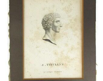 Antique Engraving Classical Profile Albius Tibullus Roman Latin Poet